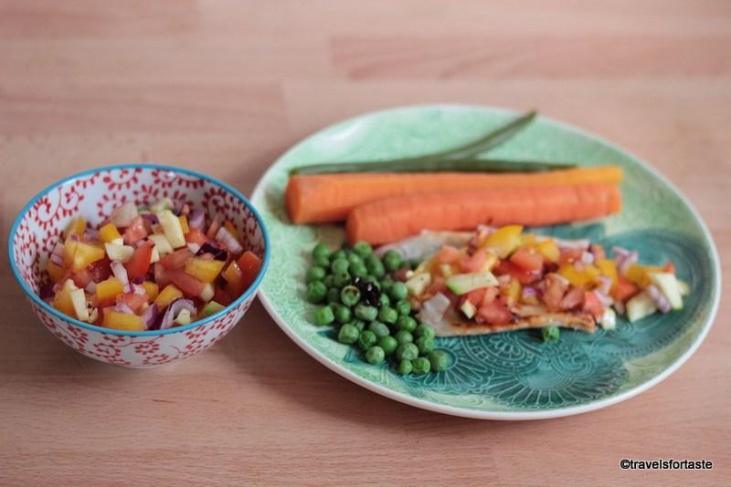 Whole steamed sea bass with a Rainbow salad