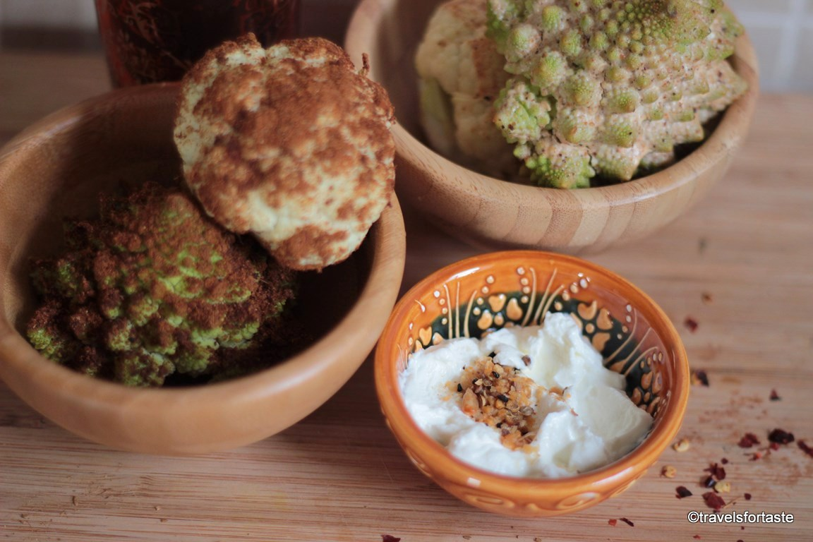Mini Roasted Cauliflower with a Dukkah dip
