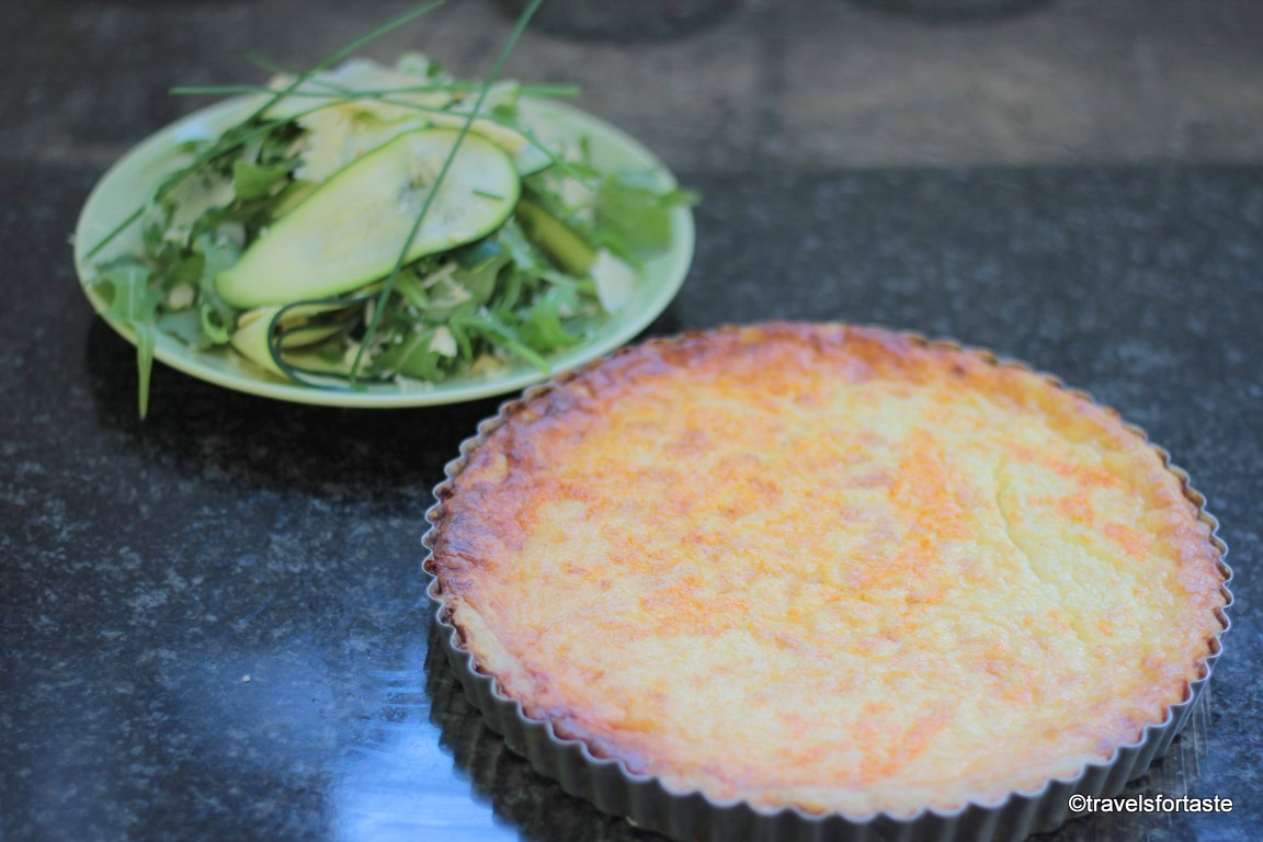 Swedish Västerbottensost Cheesy cheese pie and salad