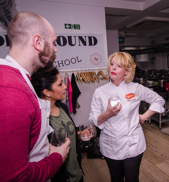 Denise in conversation with bloggers at the #quorncooks event